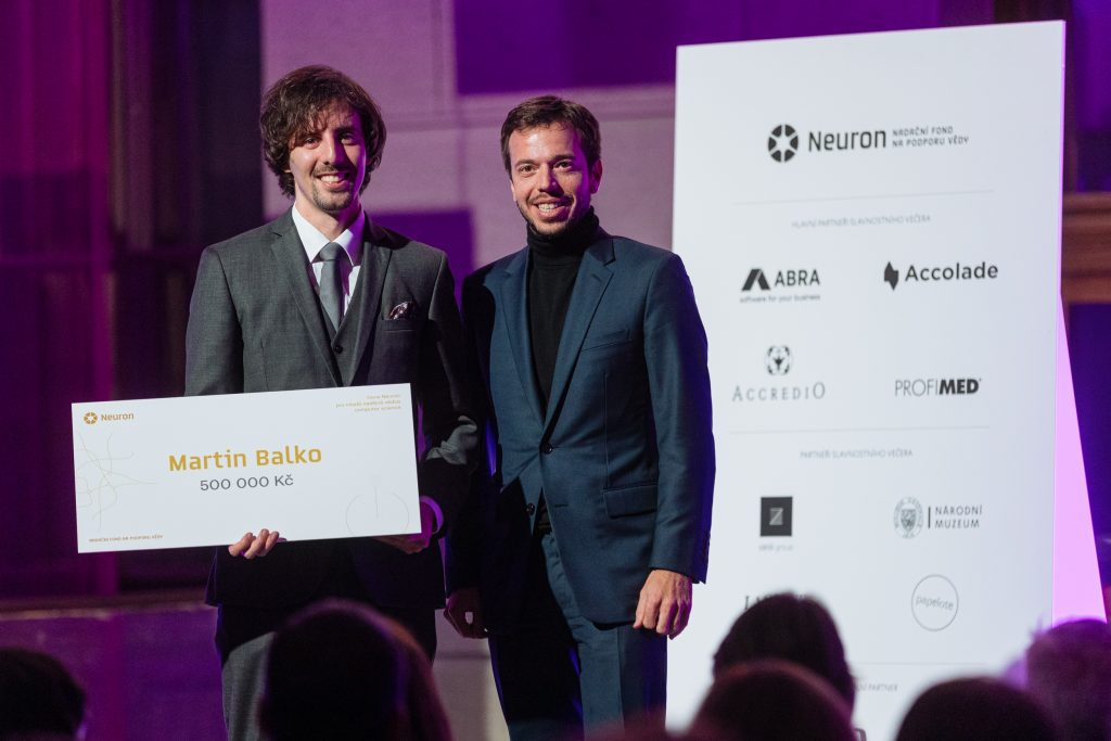 Neuron Awards for extraordinary scientists announced. Jakub Havrlant presents the award for Computer Science